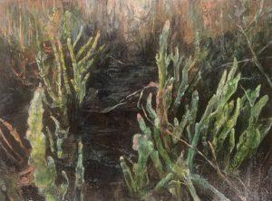 'Dark marsh - samphire', Judith Tucker, Oil on linen, 30 x 40 cm