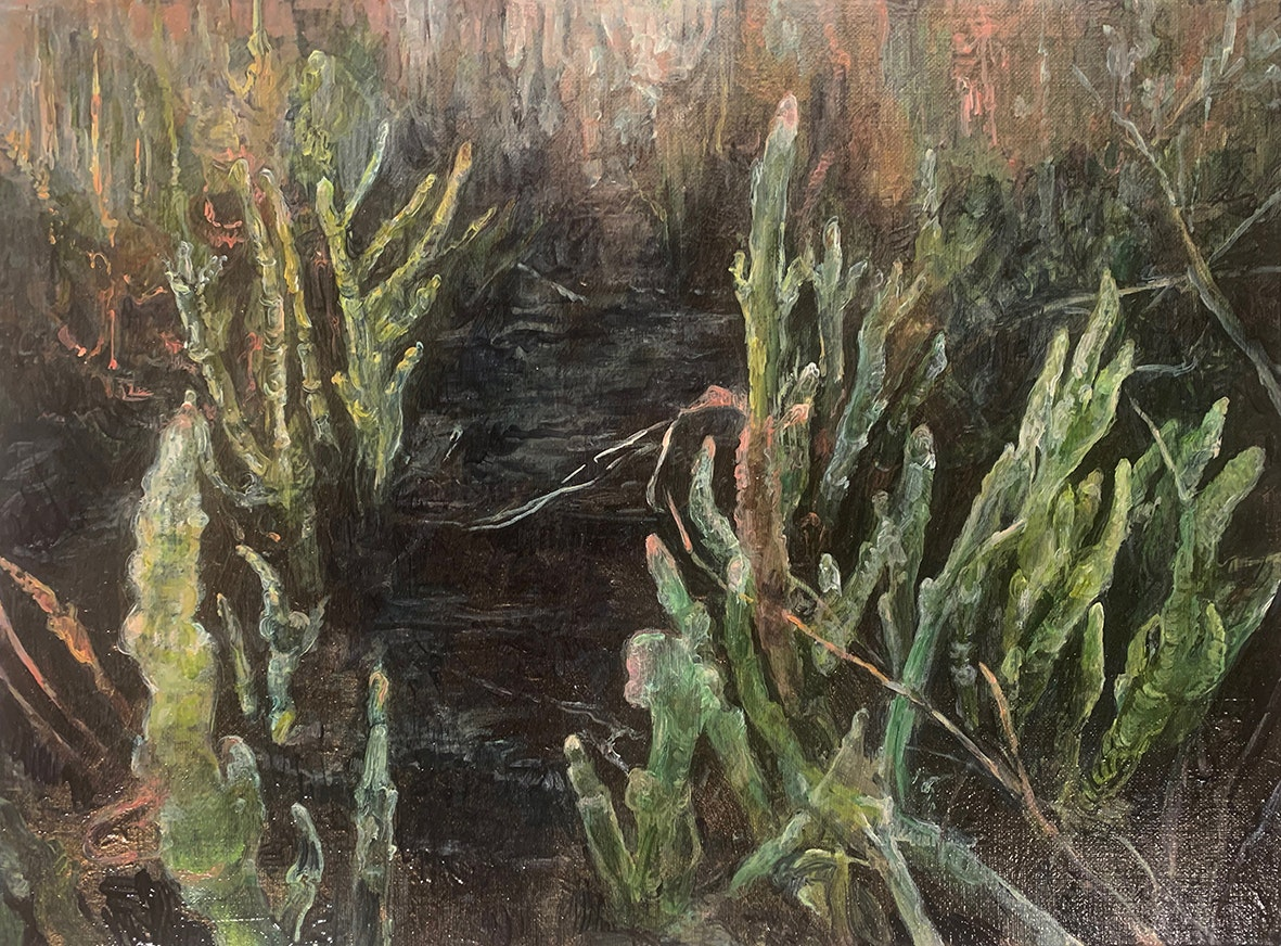'Dark marsh - samphire', Judith Tucker, Oil on linen, 30 x 40 cm
