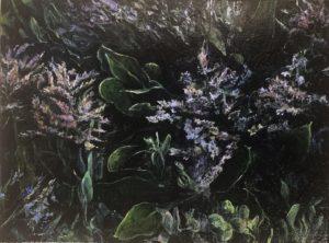 'Dark marsh - sea lavender', Judith Tucker, Oil on linen, 30 x 40 cm