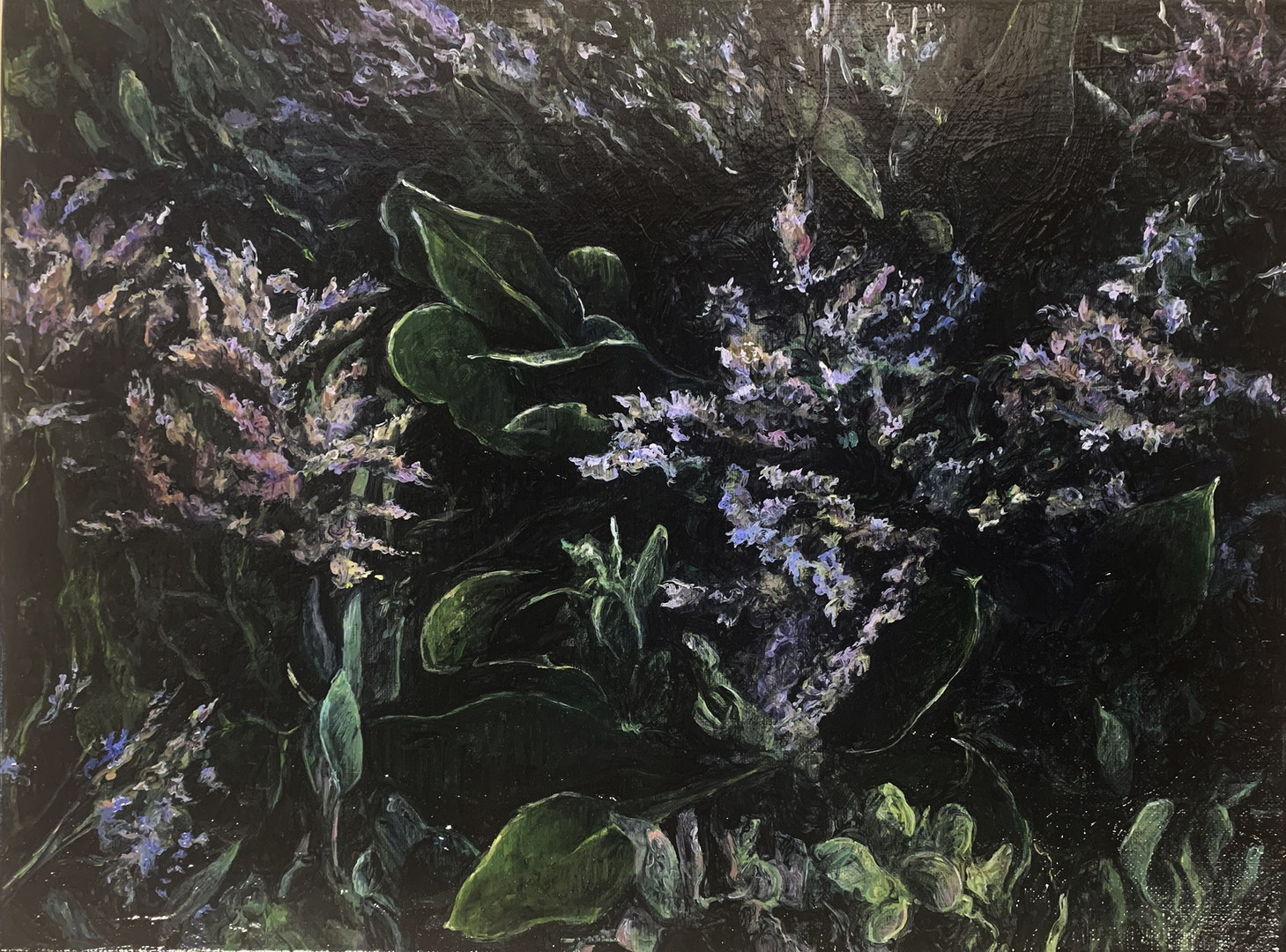 'Dark marsh - sea lavender', Judith Tucker, Oil on linen, 30 x 40 cm