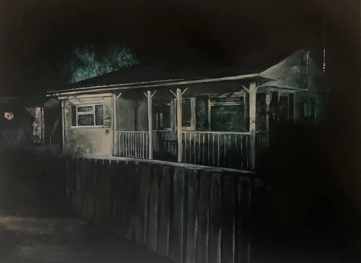 'Night Fitties: I only come here when the weather's good', Judith Tucker, Oil on linen, 60 x 80 cm