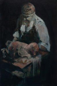 'Bacon Baby', Julia Medynska, Oil on wood, 106 x 53 cm