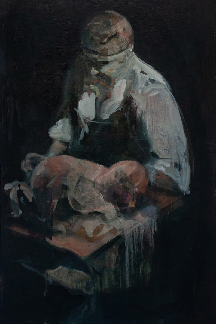 'Bacon Baby', Julia Medynska, Oil on wood, 106 x 53 cm