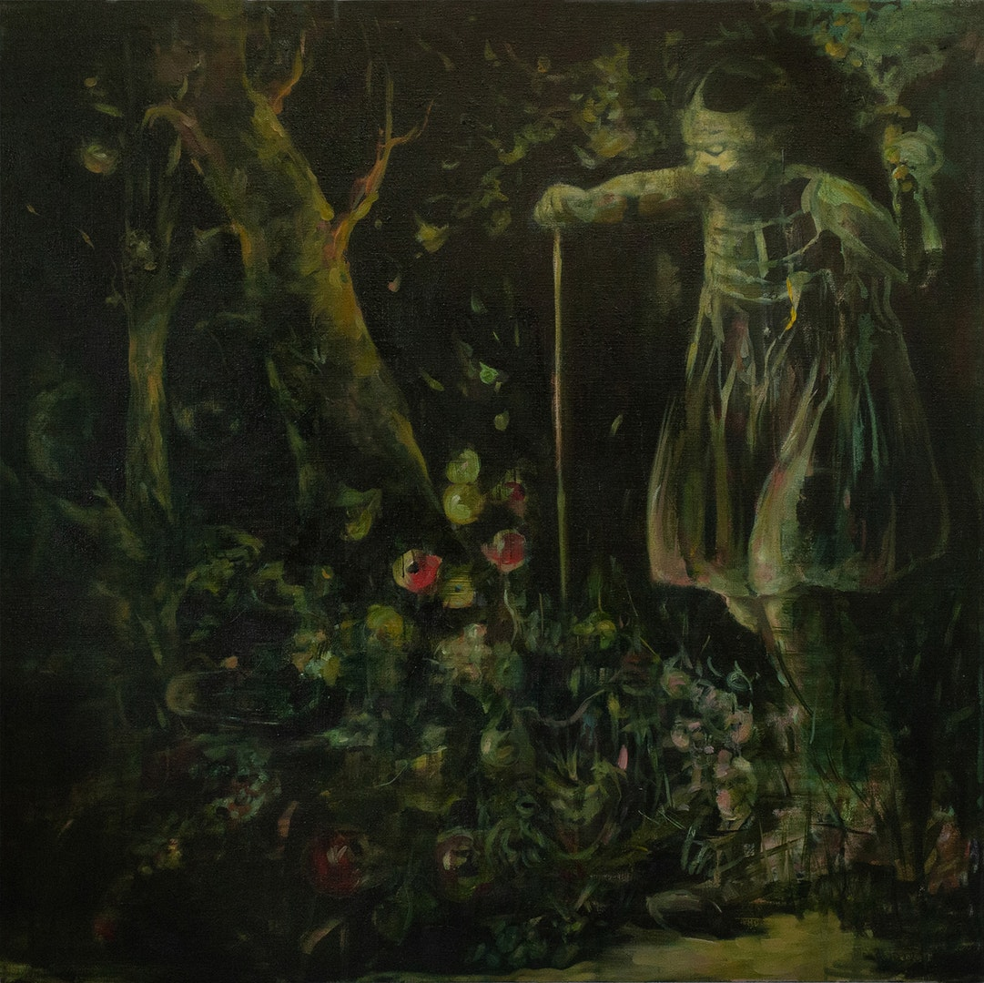 'The Witch', Julia Medynska, Oil on linen, 137 x 137 cm