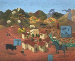 'Santo Tomás (El pueblo)', Julio Gomez, Oil on canvas, 128 x 158 cm