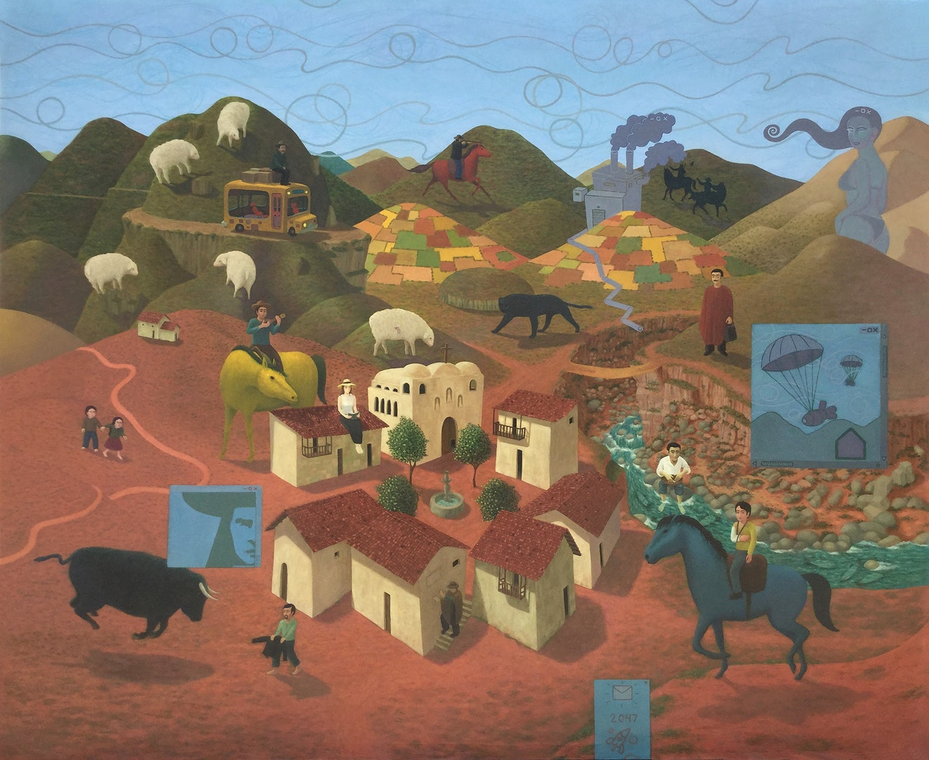 'Santo Tomás (El pueblo)', Julio Gomez, Oil on canvas, 128 x 158 cm