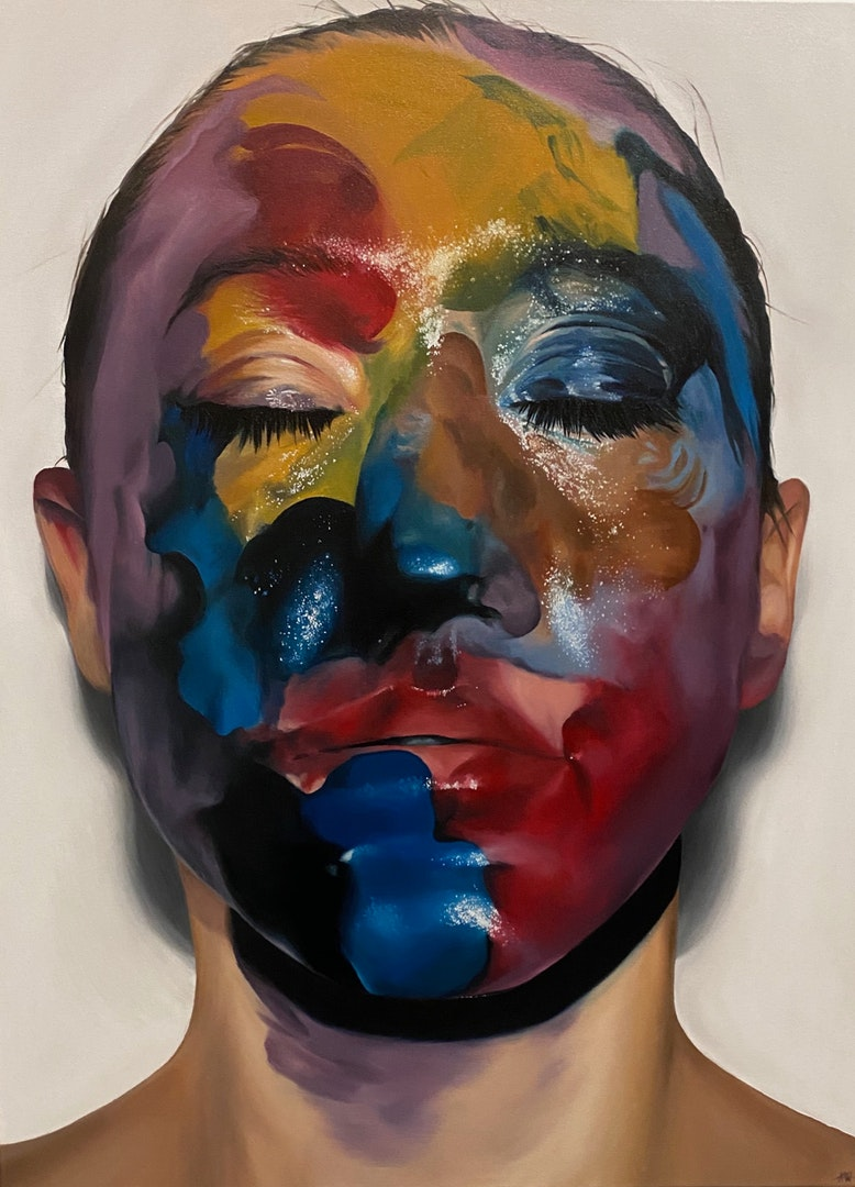 'Mixed Emotions', Keilly Whittaker, Oil on canvas, 101 x 47 cm