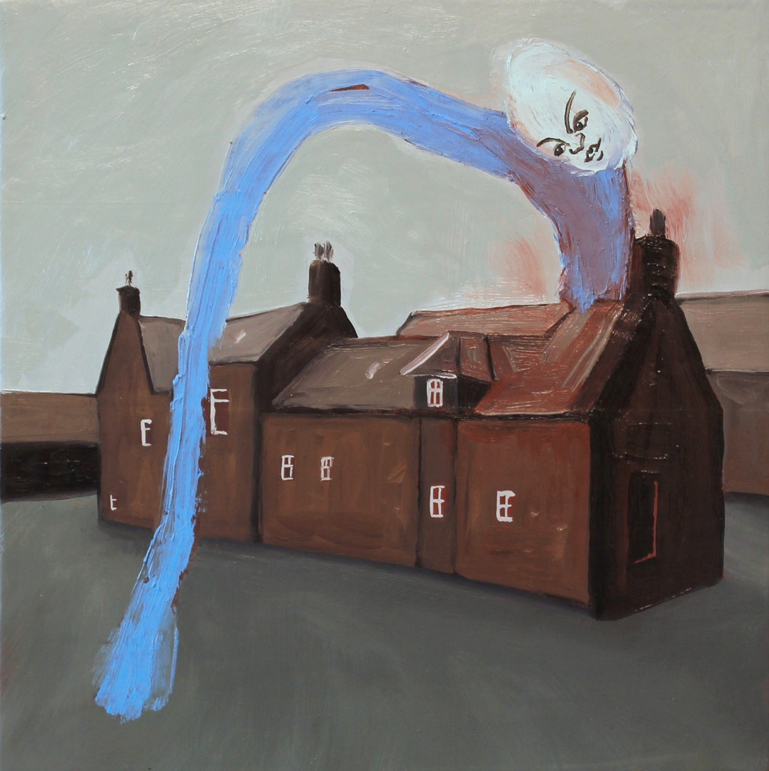 'Cottage 6', Lena Brazin, Oil on limewood panel, 25 x 25 cm