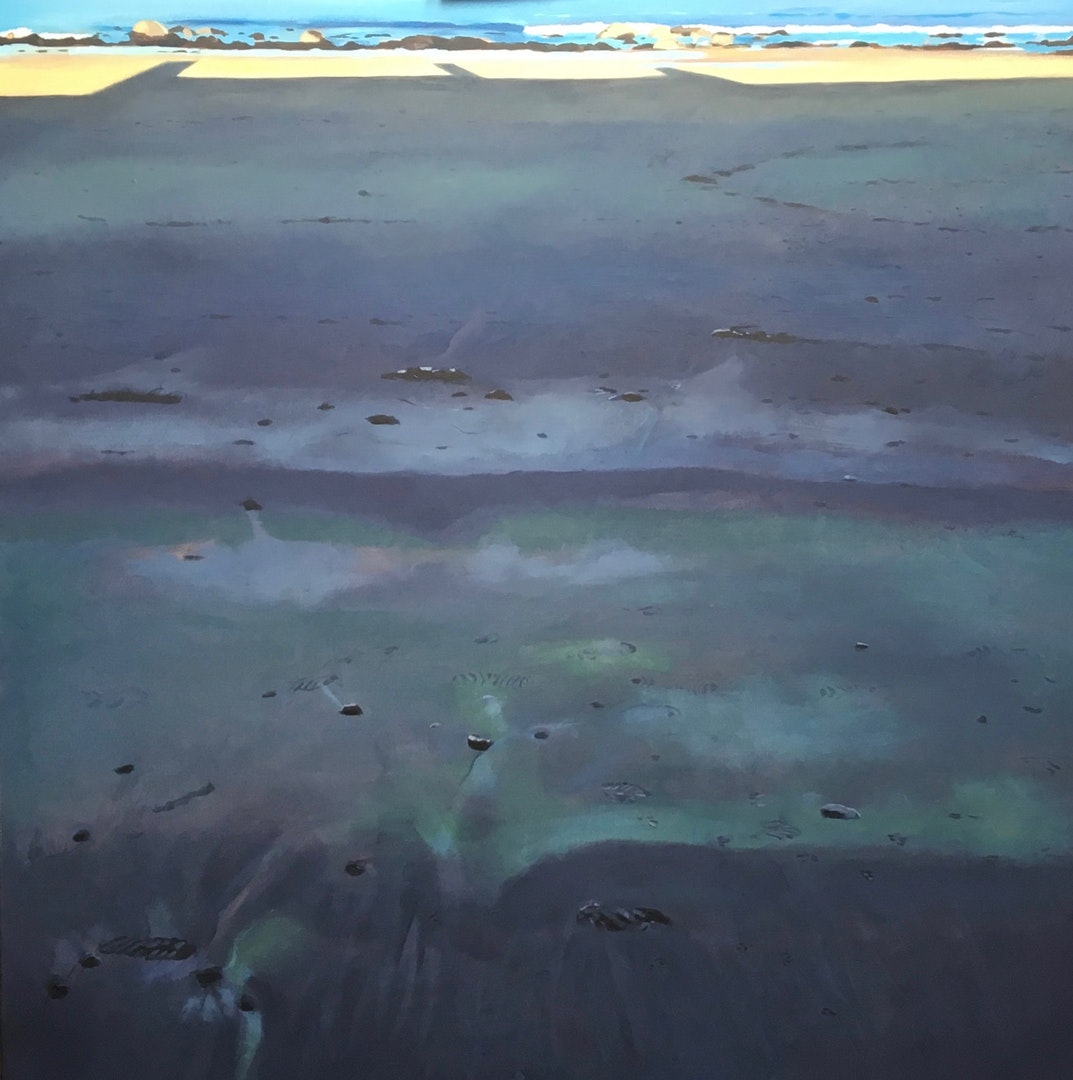 'Beach -Black and Blue', Lesley Banks, Oil on linen, 100 x 100 cm
