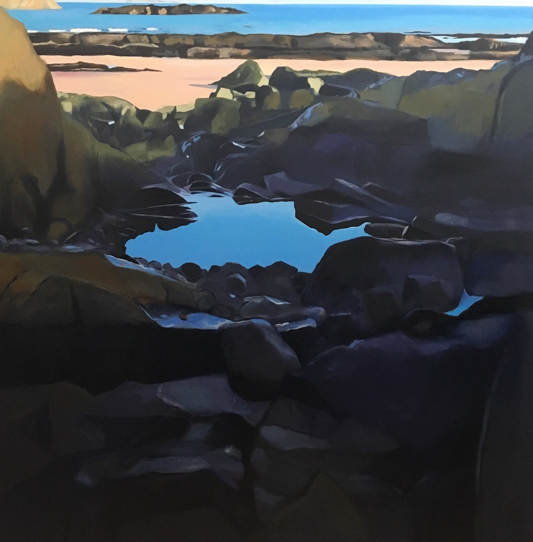 'Beach -Rockpool', Lesley Banks, Oil on linen, 100 x 100 cm