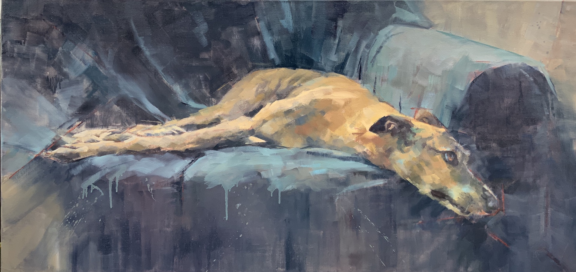 'A Dogs Life', Lisa Puhlhofer, Oil on linen, 105 x 50 cm