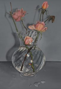 'Vase of Roses', Madeline Parker, Acrylic on paper, 36 x 26 cm