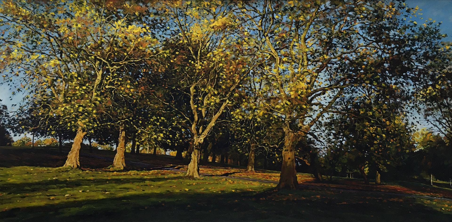 'Autumn light.', Mark McLaughlin, Oil on canvas, 56 x 112 cm