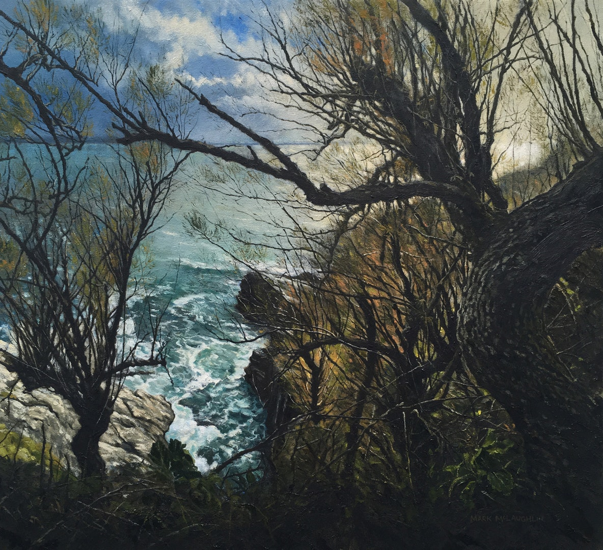 'Prussia Cove, Cornwall', Mark McLaughlin, Oil on canvas, 56 x 61 cm
