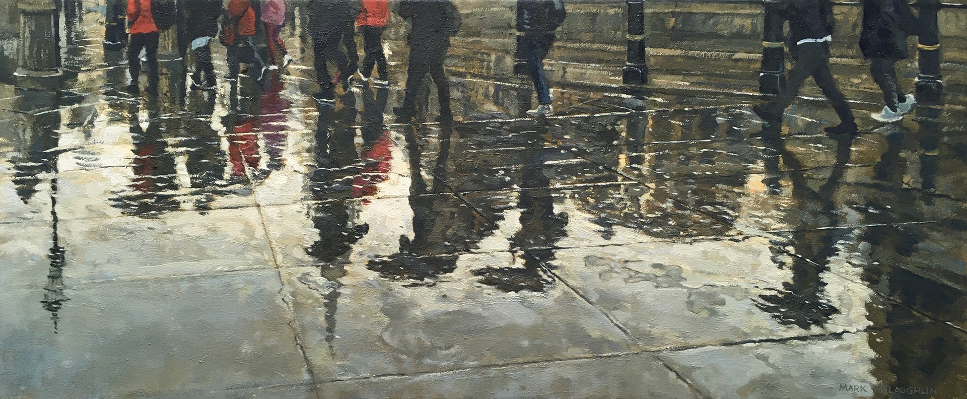 'Rain and reflections, Trafalger Square', Mark McLaughlin, Oil on canvas, 25 x 76 cm