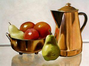 'Coffee break', Martin Davis, Oil on wood panel, 30.5 x 40.5 cm