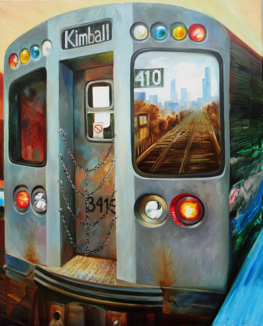 'The Train', Mary Swift, Oil on canvas, 100 x 80 cm