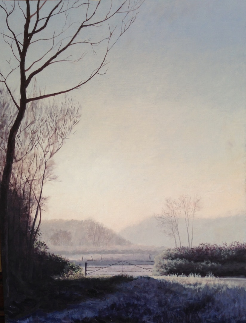 'Frosty Dorset Fields', Matthew Herbert, Oil on wooden board, 100 x 80 cm