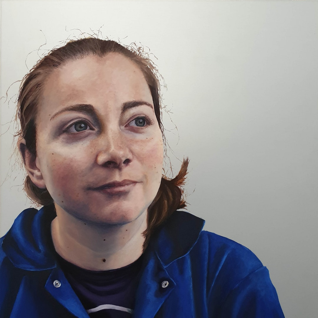 'Self Portrait i', Megan Hunter, Oil on aluminium, 30 x 30 cm
