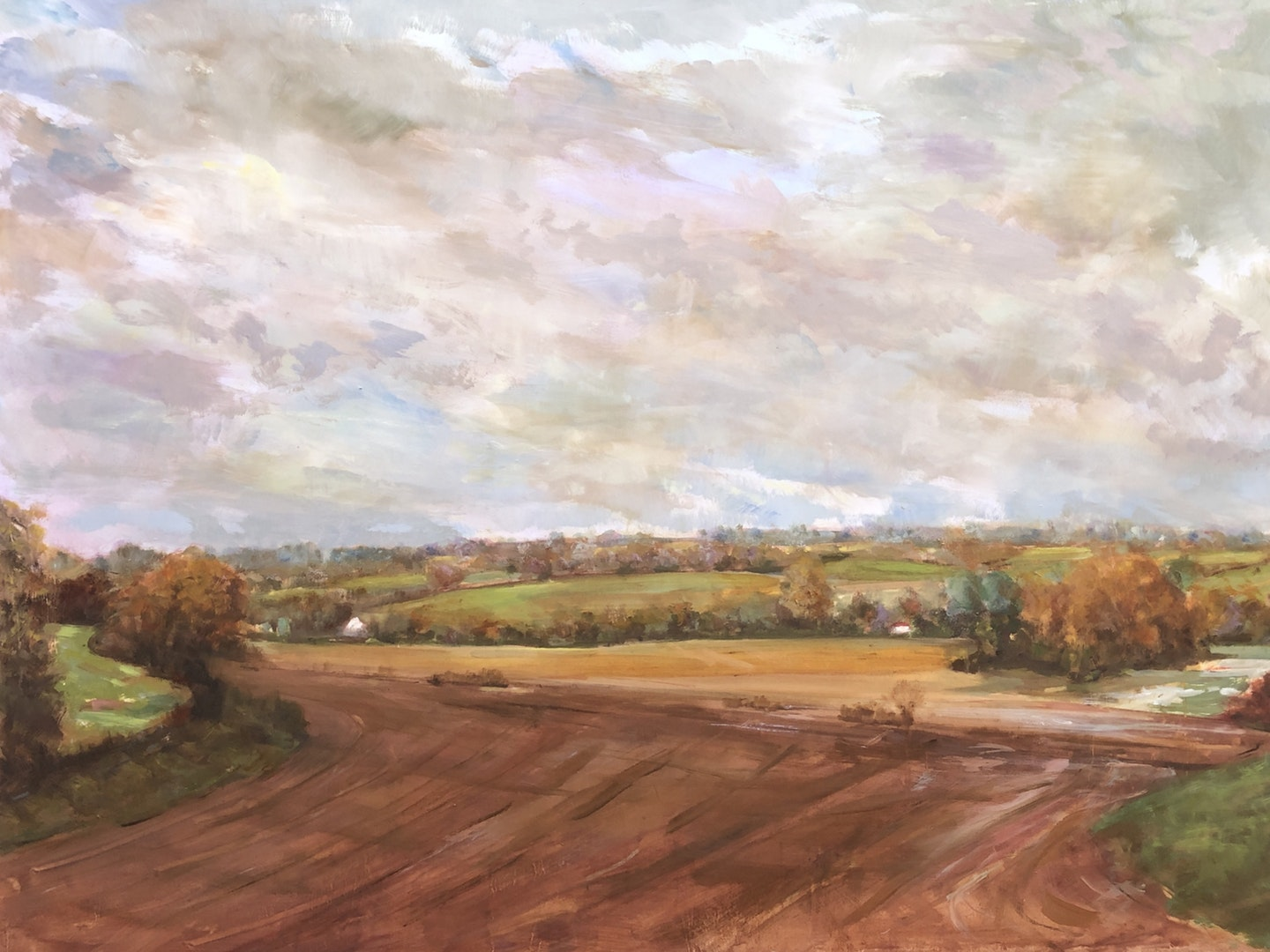 'Autumn Floods Brett Vale', Michael Crowe, Oil on plywood panel, 91 x 122 cm