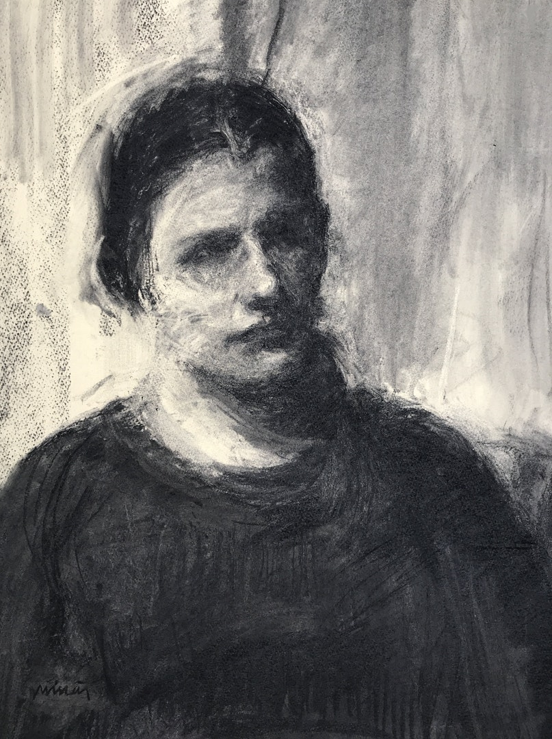 'Portrait of Olivia', Michael Minas, charcoal on paper, 75 x 58 cm