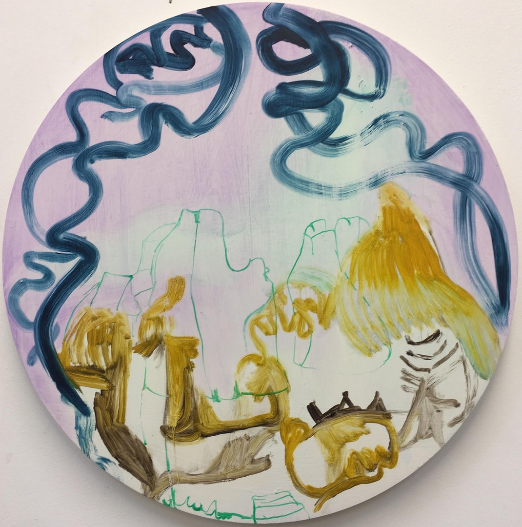 '14 December 2018', Nadja Gabriela Plein, Oil on circular wood panel, 50 x 50cm (50cm diameter)