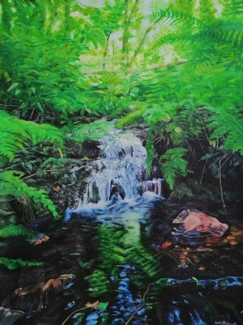 'Falls and Ferns of Canonteign', Naia Lucy Briscall, Acrylic on canvas, 78.5 x 59 cm