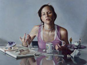'Be Well; Engaging the Noose', Nancy Hollinghurst, Oil on linen panel, 76.2 x 101.6 cm