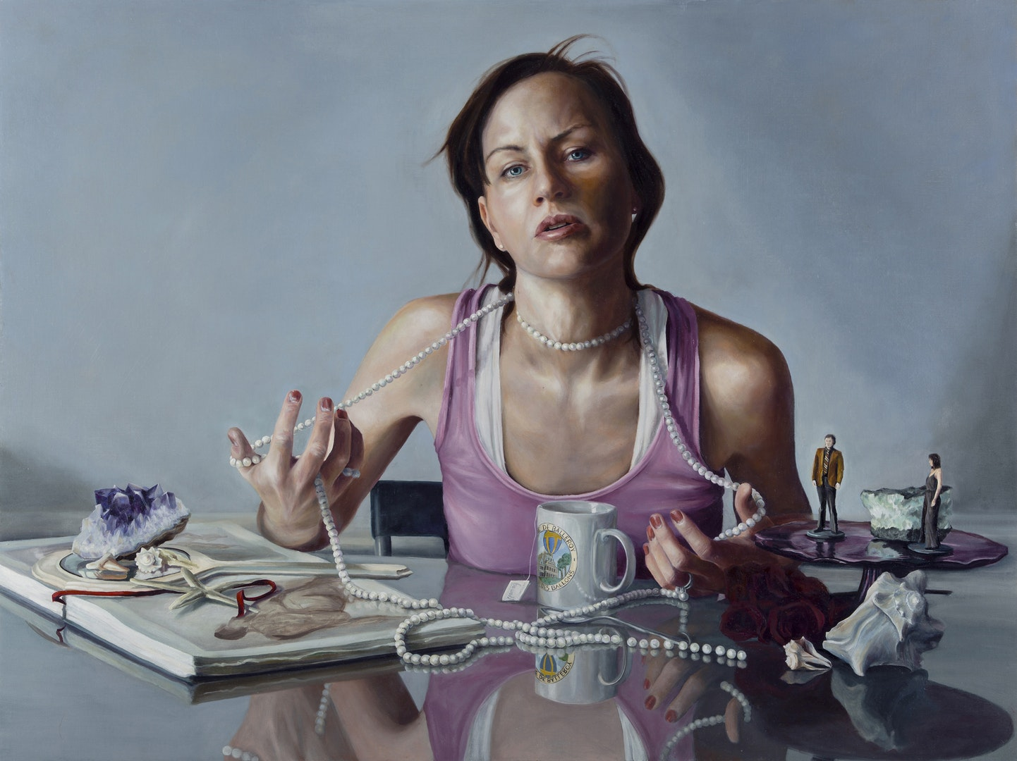 'Be Well; Engaging the Noose', Nancy Hollinghurst, Oil on linen panel, 76.2 x 101.6 cm