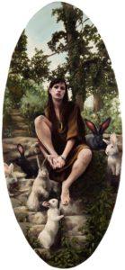 'Chasing Rabbits', Nancy Hollinghurst, Oil on linen panel, 99 x 46 cm