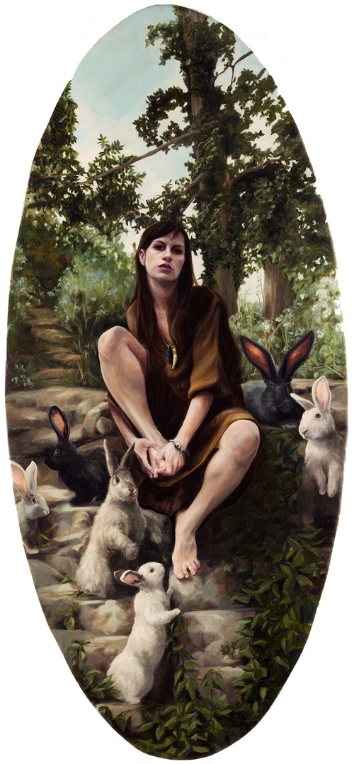'Chasing Rabbits', Nancy Hollinghurst, Oil on linen panel, 99 x 46 cm
