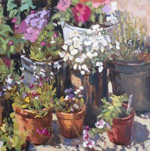 'Sunlit Lobelias', Nia Mackeown, Oil on panel, 46 x 46 cm