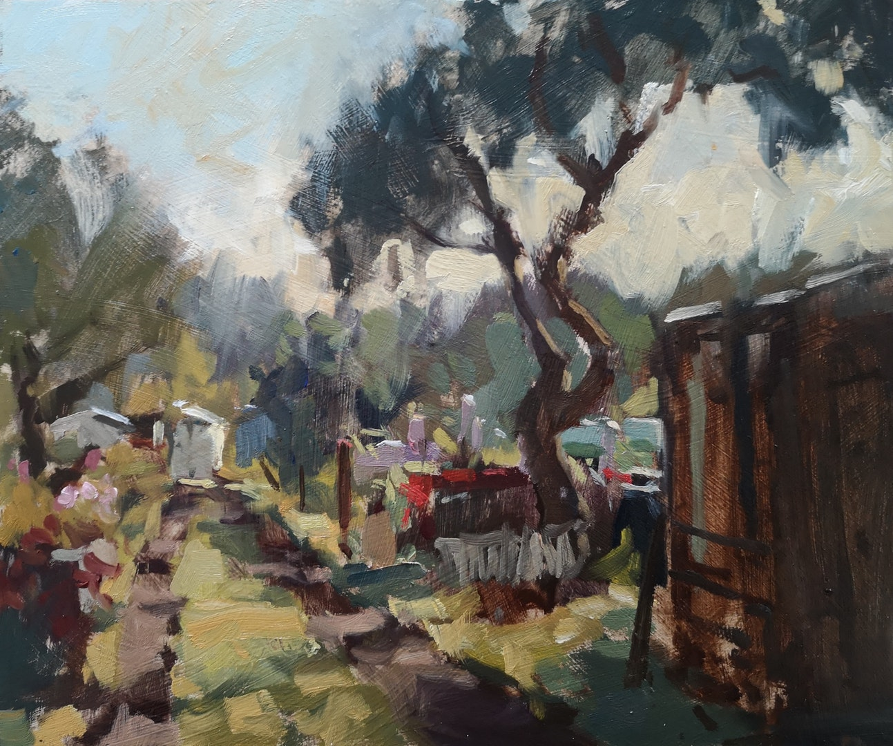 'The Allotment in October', Nia Mackeown, Oil on panel, 26 x 31 cm