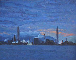 'Industrial Harbour of Kitakyushu II', Nicolas Depetris, Oil on canvas, 80 x 100 cm
