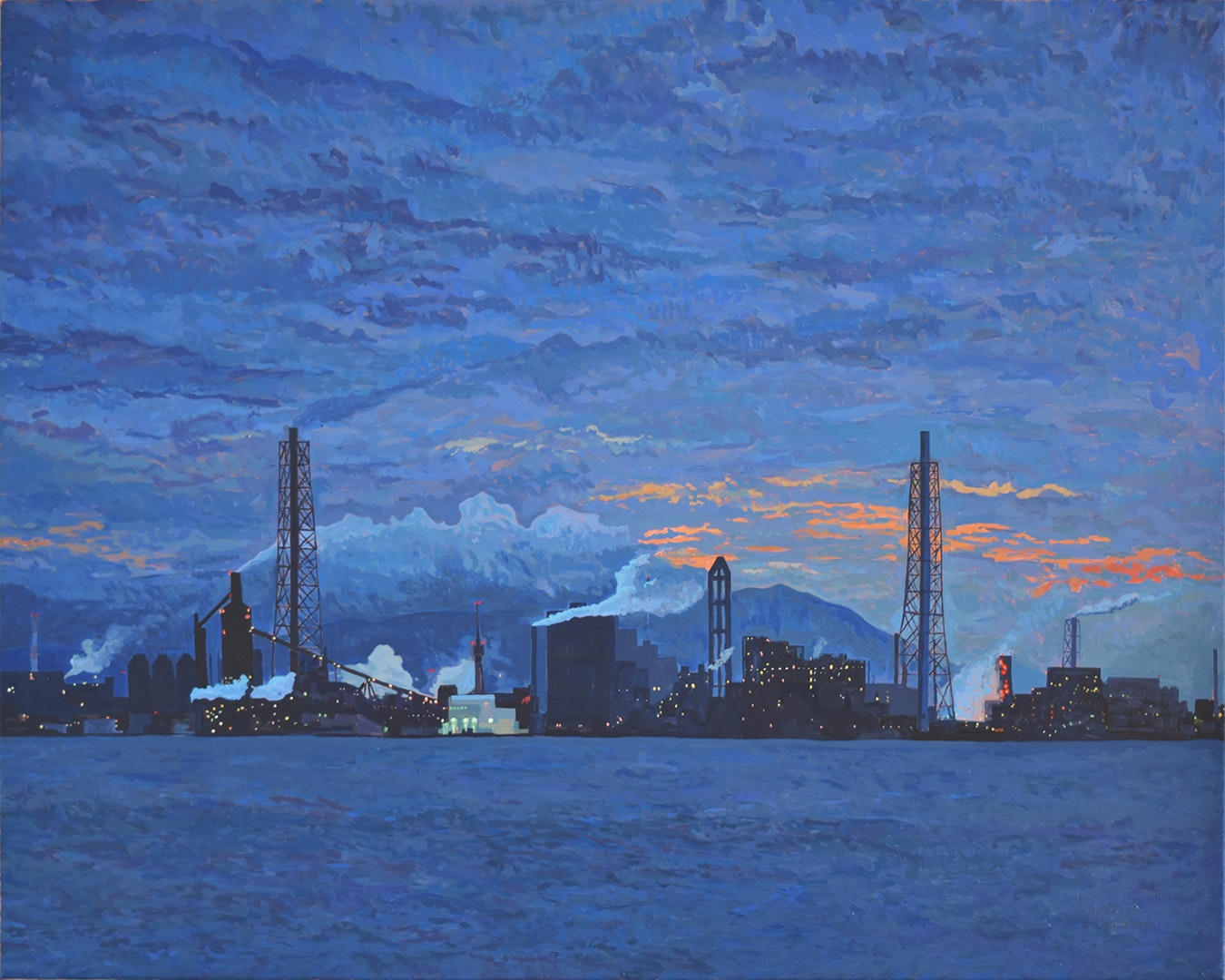 'Industrial Harbour of Kitakyushu II', Nicolas Depetris, Oil on canvas, 80 x 100 cm