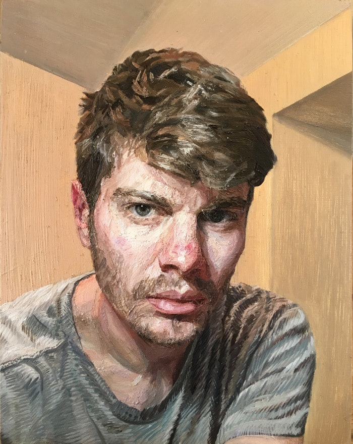 'Self-Portrait', Owain Hunt, Oil on panel, 38 x 26 cm