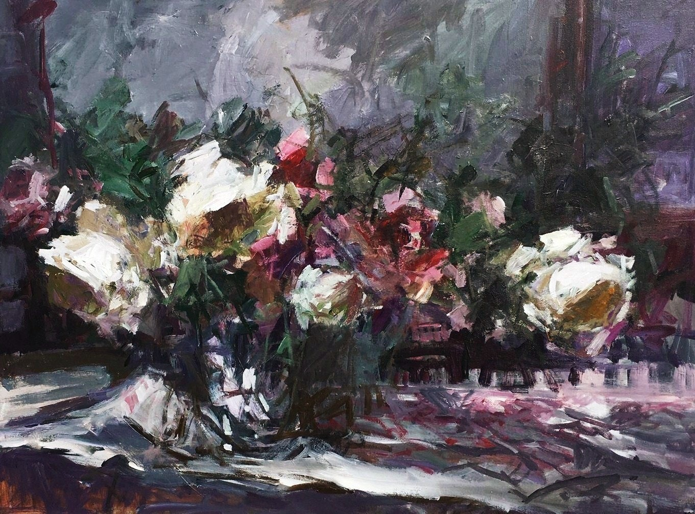 'Sunshine and summer roses', Parastoo Ganjei, Acrylic, 76 x 101 cm