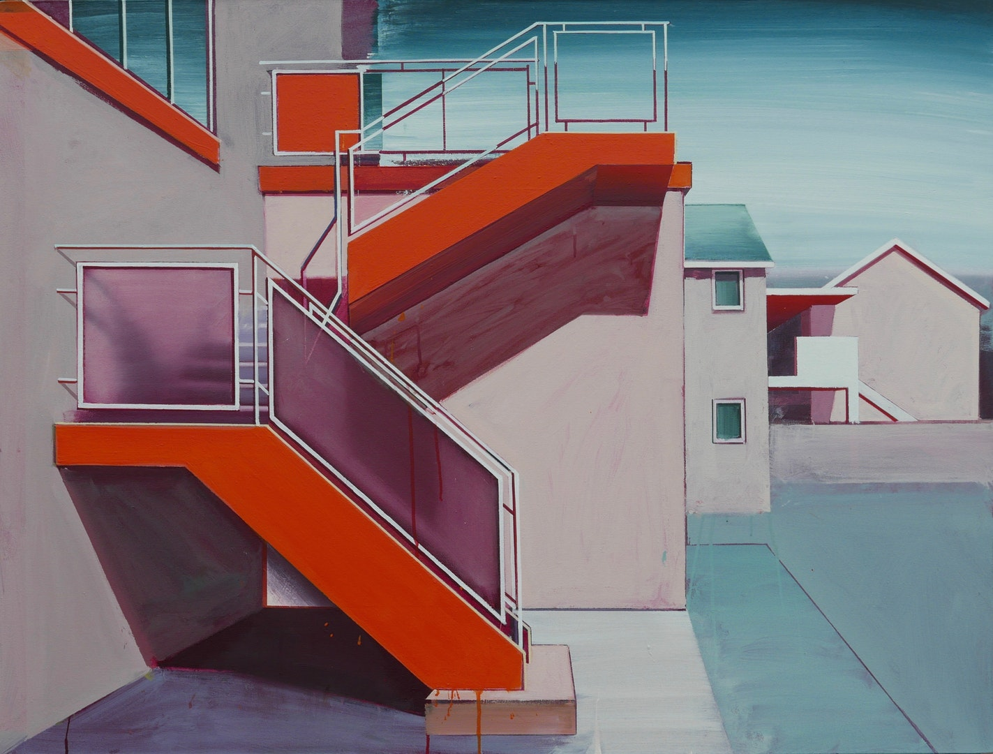 'Orange Stairway', Paul Crook, Acrylic on canvas, 125 x 100 cm