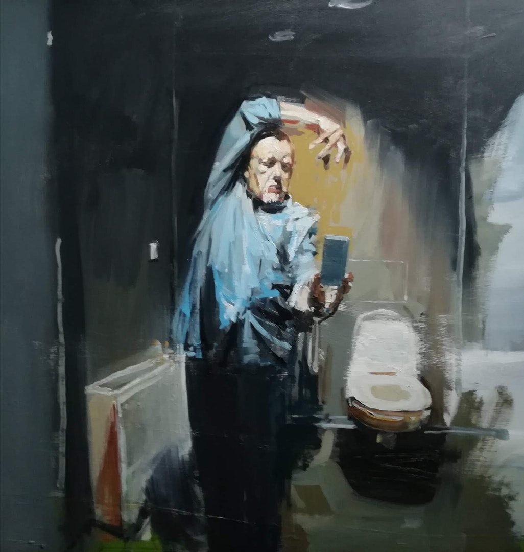 'The meaning is lost', Philip Tyler, Oil on board, 60 x 60 cm