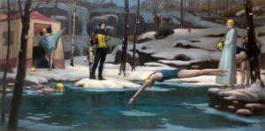 'Snowy Pond', Phillip Kim Ho Hui, Oil on canvas, 60 x 120 cm