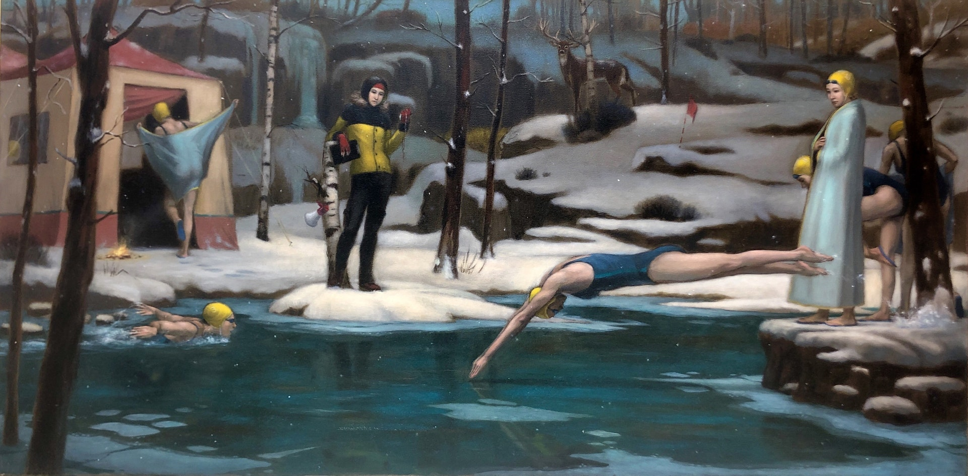 'Snowy Pond', Phillip Kim Ho Hui, Oil on canvas, 60 x 120 cm