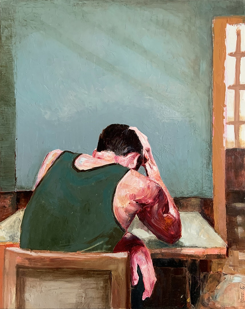 'Seated figure', Rafael Sánchez, Oil on canvas, 81 x 65 cm