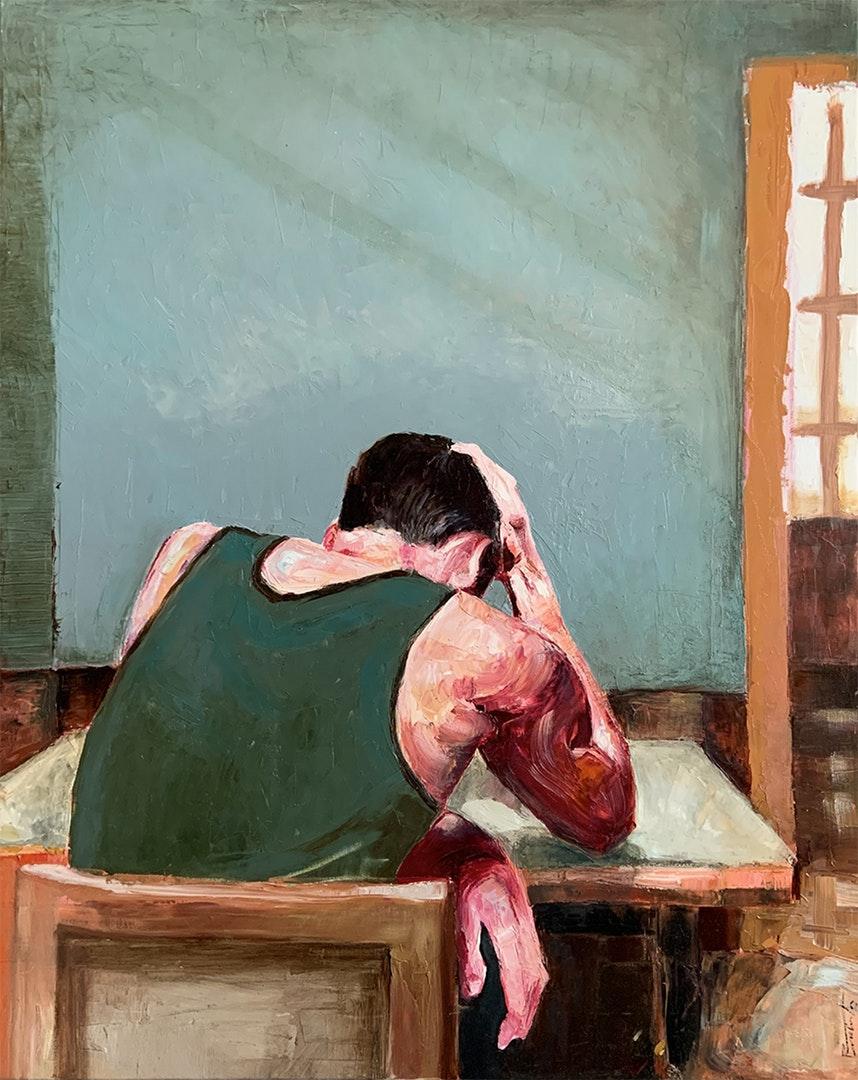 'Seated figure', Rafael Sánchez, Oil on canvas, 81 x 65 cm