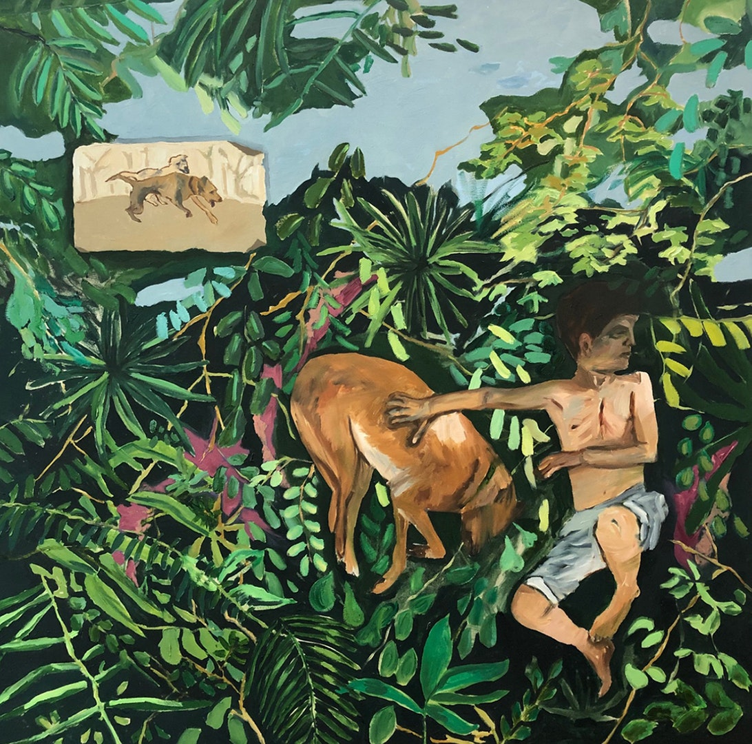 'A-boy-and-a-dog', Revital Kalay, Oil on canvas, 100 x 100 cm