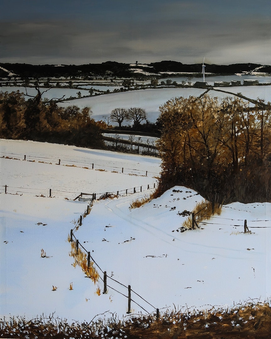 'Snow Under The Edge', Richard Lewis, Oil on canvas, 102 x 81 cm