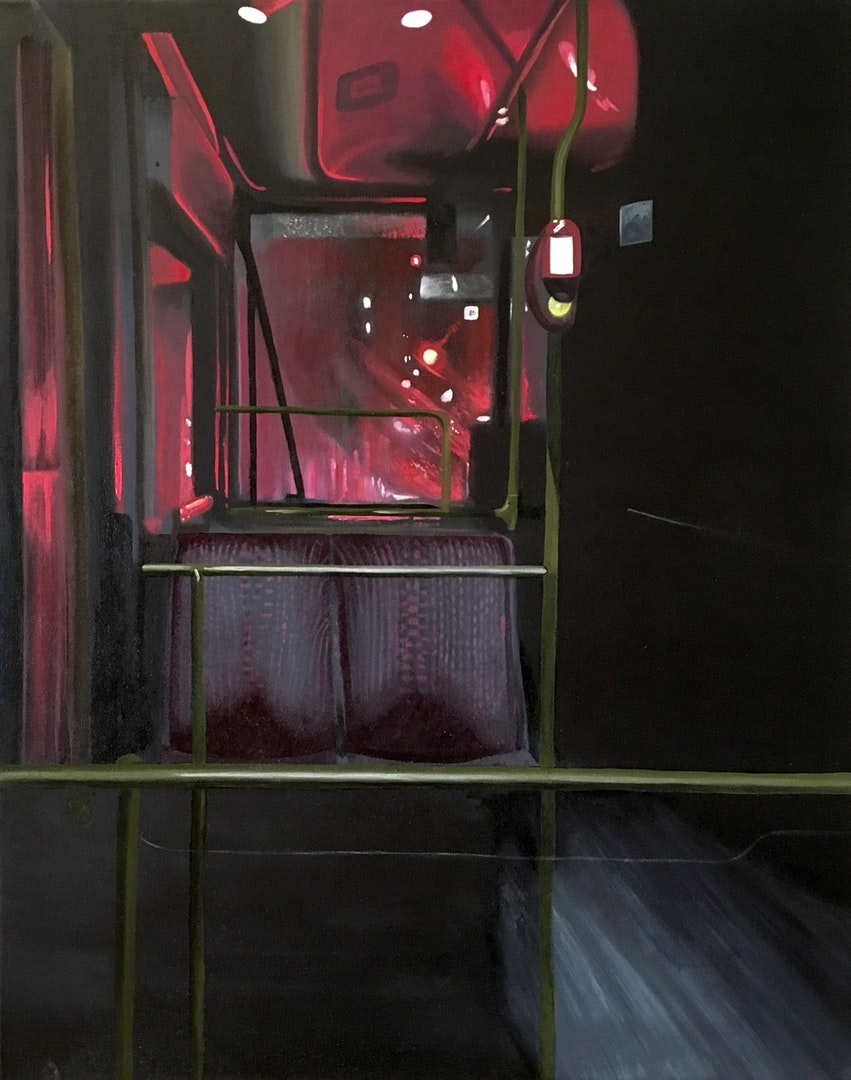 'Night Bus', Robert Clear, Oil on linen, 40 x 50 cm