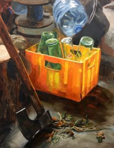 'Uncle's axe and bottle box', Roberto Luis Zuñet, Oil on panel, 35 x 27 cm