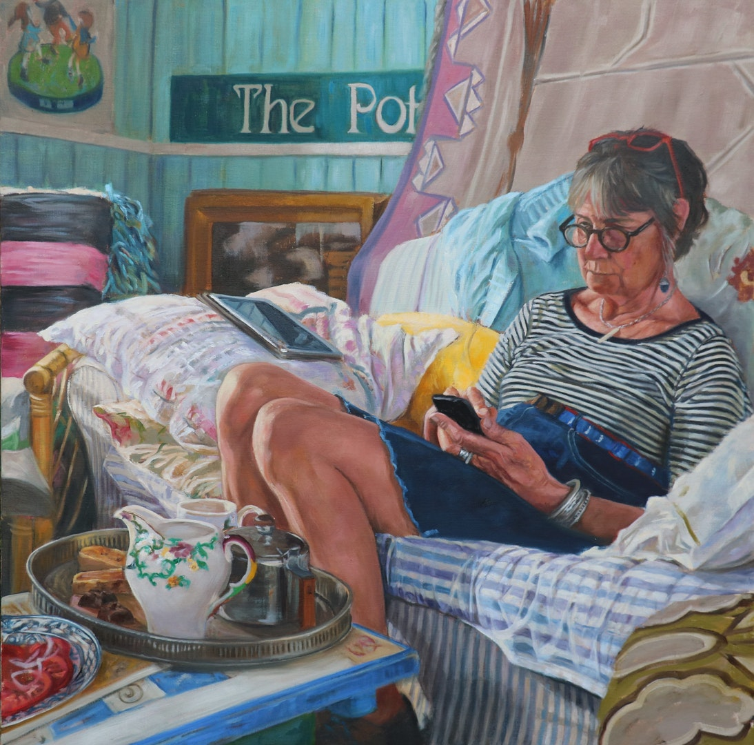 'Geraldine in the Summerhouse', Rosie McClelland, Oil on linen, 100 x 100 cm
