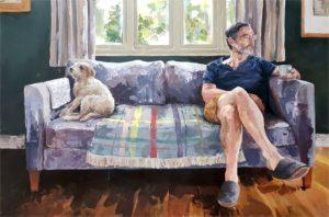 'Man and Dog', Rowan Briggs Smith, Acrylic on canvas, 150 x 100 cm