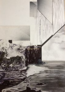 'The shore', Russell Ashcroft, Fine line pen on paper and collage, 64 x 45 cm